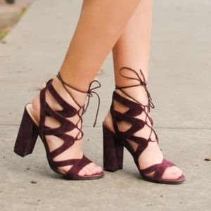 Sam Edelman Yardley Lace Up Heels in Port Wine 7.5